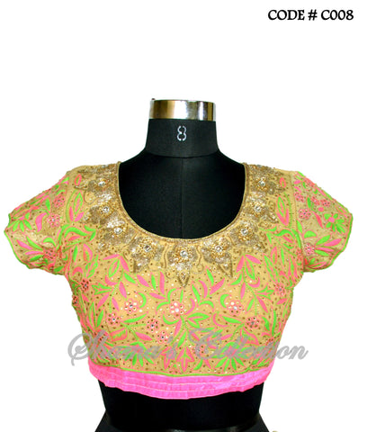 C008 Neon green pink belt sareesque