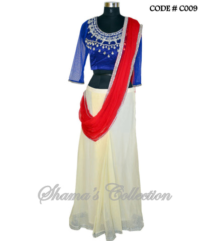 C009 Blue-red-off white sareesque