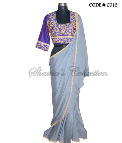 C012 Purple-grey saree