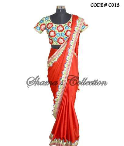 C013 Red floral saree