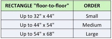 Size chart for rectangle Waggletop dog bed covers