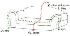 Drawing of how to measure a rectangle dog bed with bolsters for a Waggletop fitted sheet cover.
