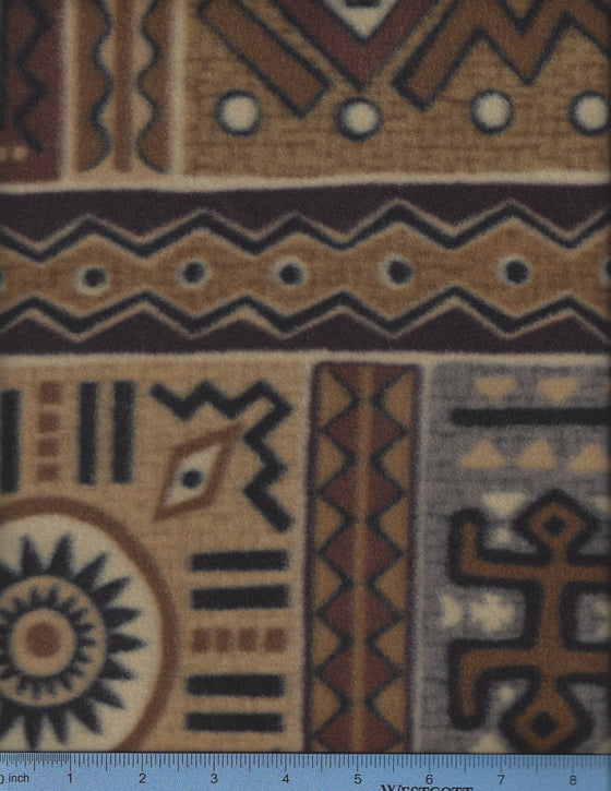 Aztec symbols in various shades of brown and tan with gray and black accents. Dog Bed Cover.