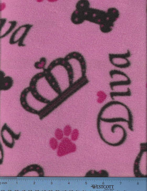 Pink fleece with crowns and the word Diva. Dog Bed Cover