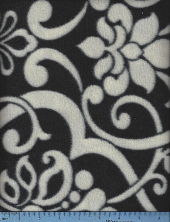 Black and white damask fleece.