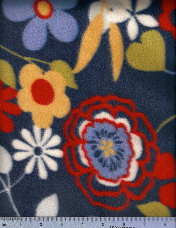 Red, blue and gold flowers on navy fleece. dog bed replacement covers.