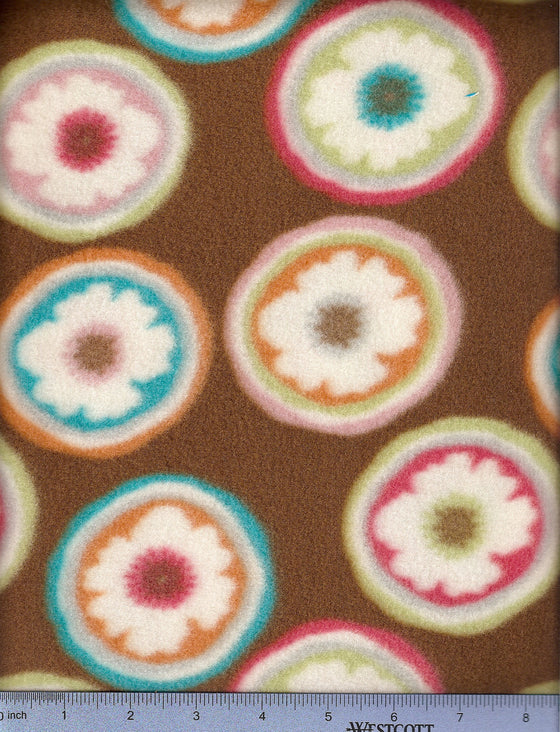Brown fleece with flower candy print - dog bed sheet