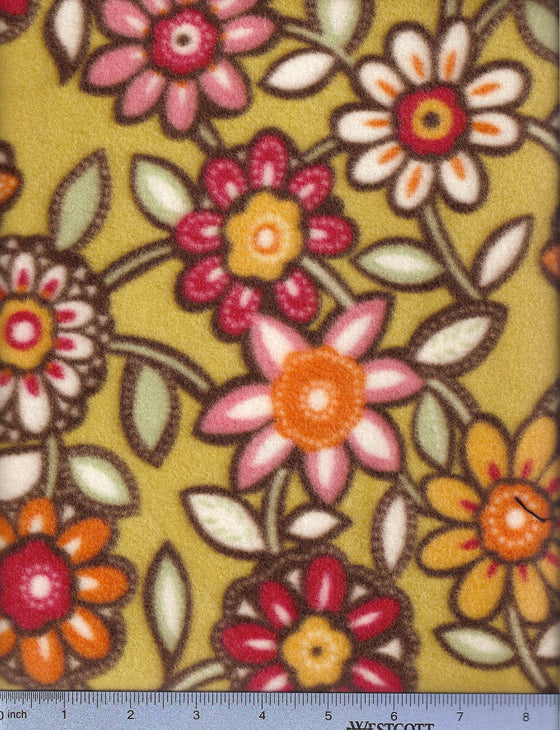 Multi colored daisy flowers on gold fleece. Round dog bed cover.