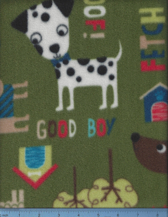 olive fleece with cartoon dogs and words; easy to wash dog bed cover