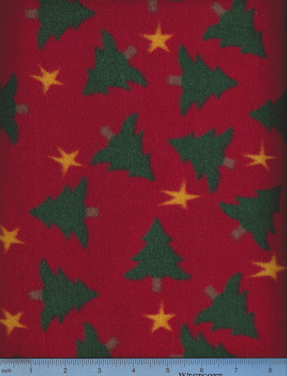 Red fleece with Christmas Trees - holiday dog bed cover