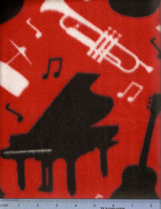 red fleece with saxophone, grand piano, trumpet, guitar, violin and drums