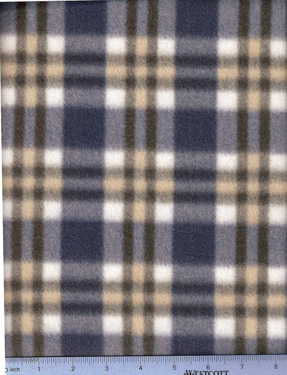 Navy, white and gold plaid fleece for dog bed cover.
