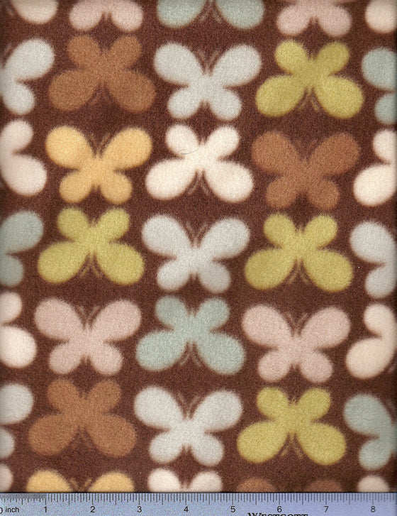 Mocha and multicolored butterflies on brown fleece. Waggletops dog bed sheet.
