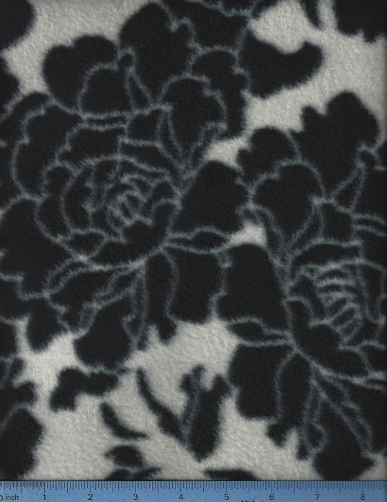 Black roses on cream fleece. large dog beds