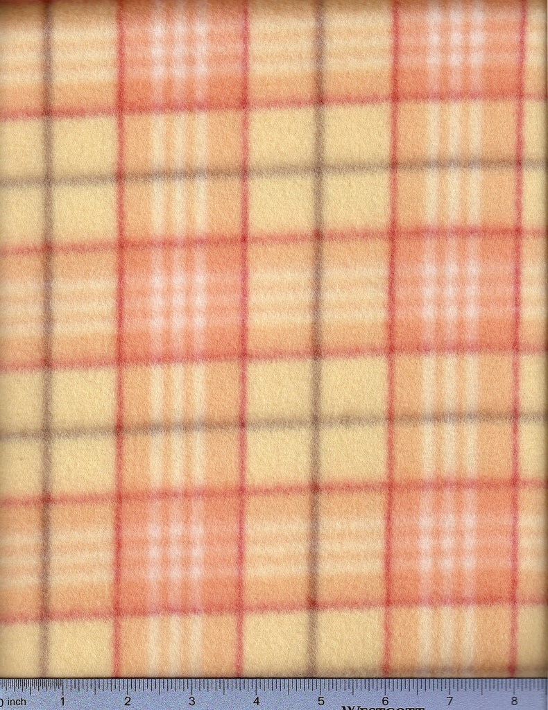 Peach plaid fleece. Fitted Dog bed sheet.