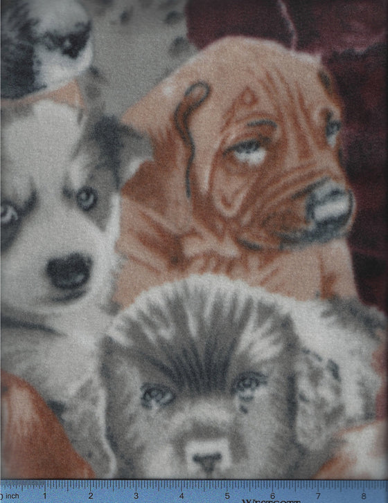 Puppy faces on multicolored fleece dog bed cover sheet