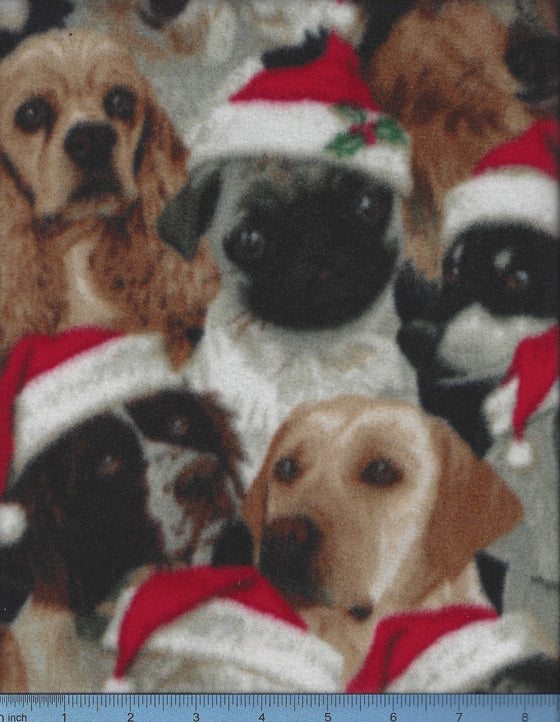 Dogs in Santa Hats fabric print - fleece dog bed cover.