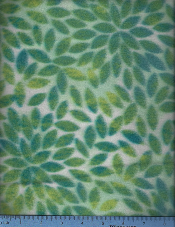 fleece print in seafoam greens and blues; dog's favorite bed cover