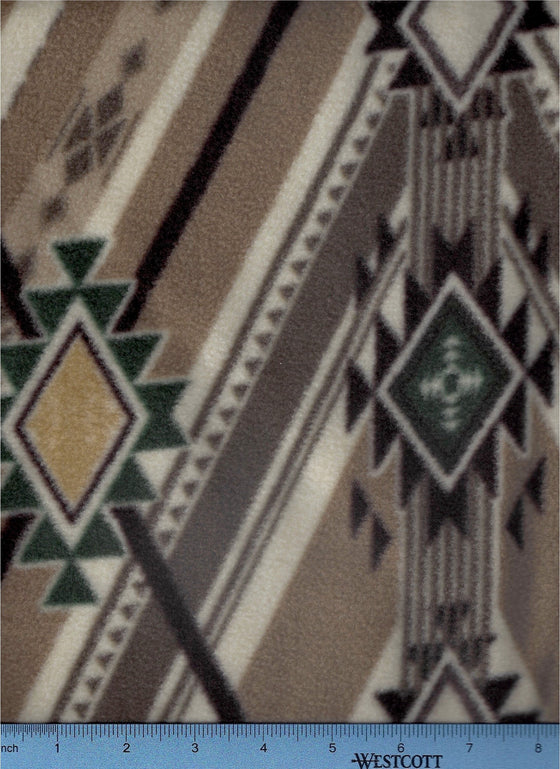 tan fleece in native blanket print with green and cream; fleece dog bed sheet