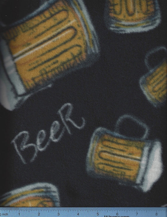 Black fleece dog bed cover with a beer stein print.