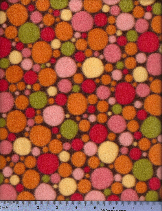 Multicolored orange, pink and green dots on brown fleece. Dog bed fitted sheet.