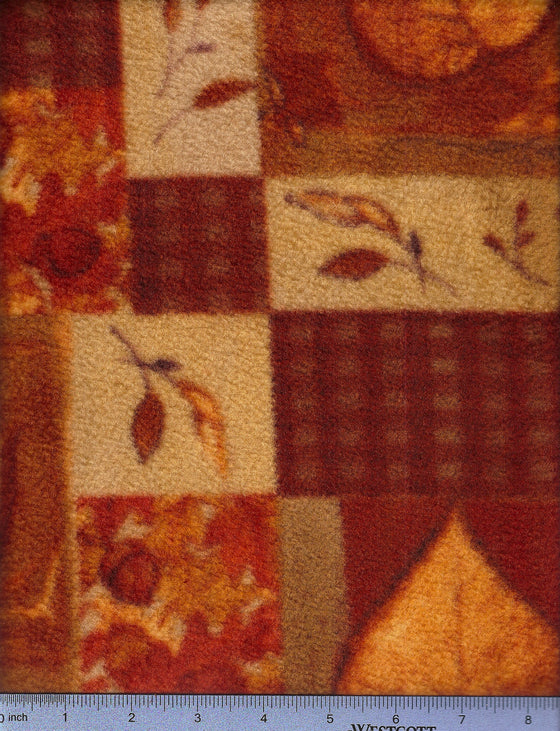 Fall leaves in patchwork print on fleece. Fitted sheet for dog beds.