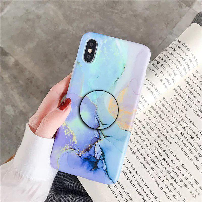 Sky Blue & Green Marble Slim Case Cover - ShopOnCliQ