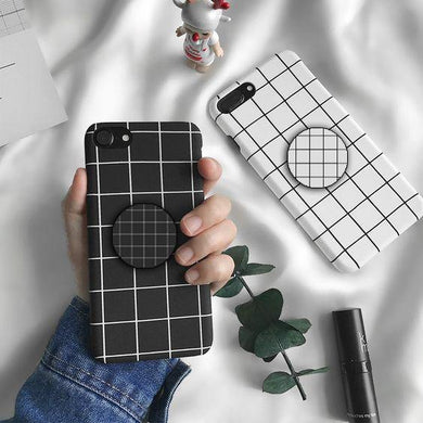 Lattice Stripe Simple Black White Grid Case Cover - ShopOnCliQ