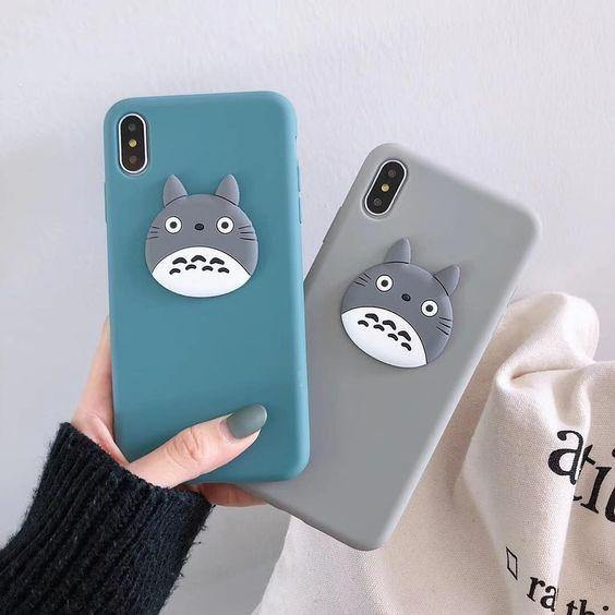 Blue And Grey Phone Cover with Totoro Phone Holder - ShopOnCliQ