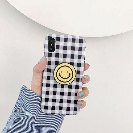 Cute Plaid Cartoon Smile Face Phone Case Cover - ShopOnCliQ