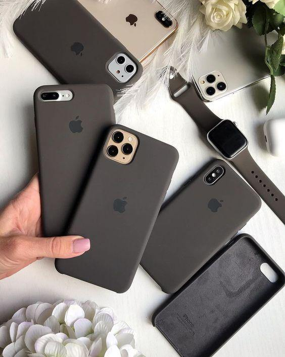 iPhone Liquid Silicon Case  (Dark Grey) - ShopOnCliQ