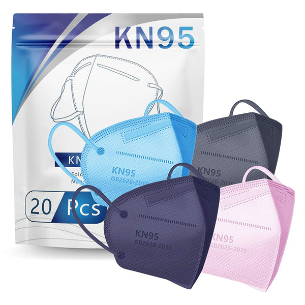 KN95 Face Mask 20 PCs Filter Efficiency≥95%(Muti-Color)