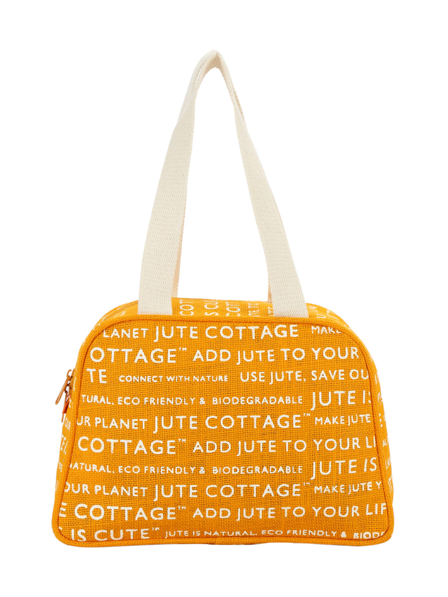 TAPE HANDLE LUNCH (JUTE COTTAGE PRINTED) - (B-035-YELLOW)