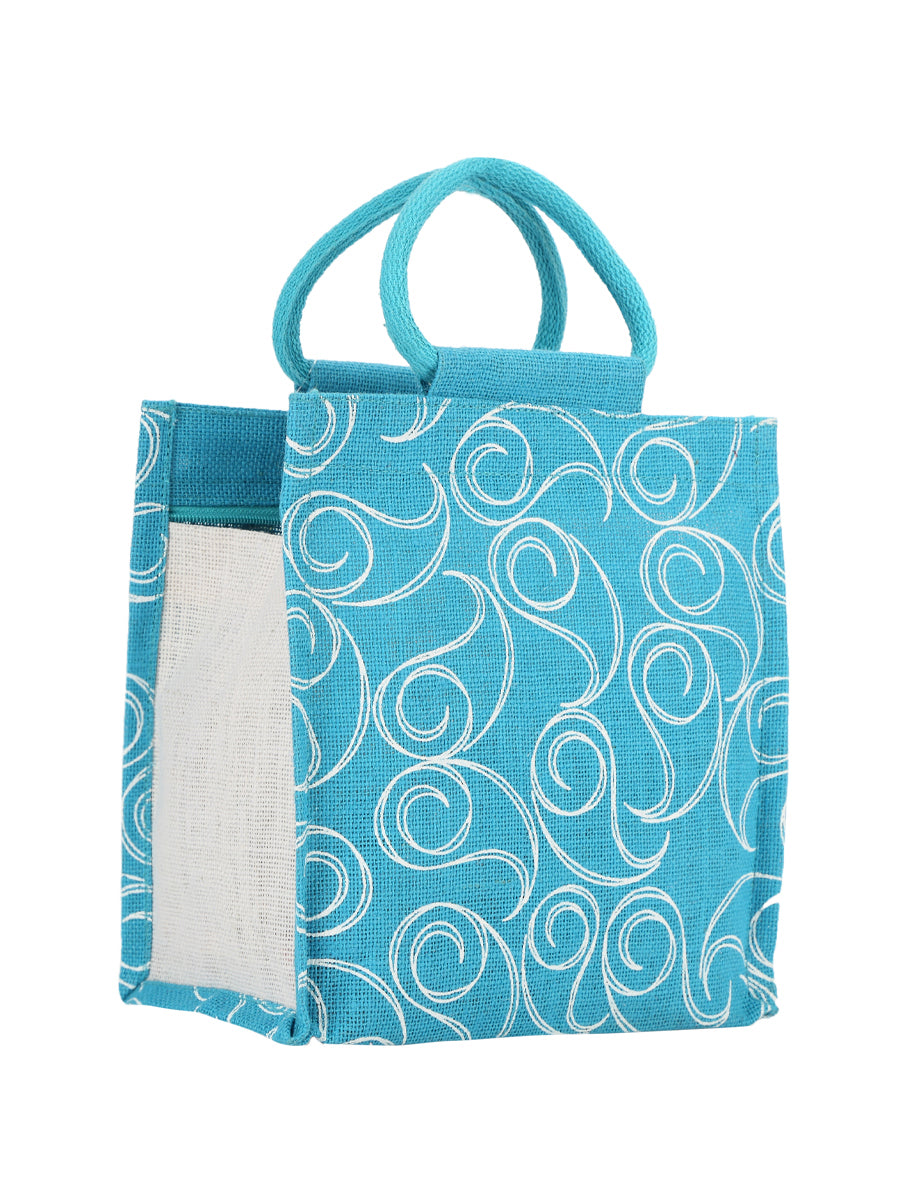 10 X 10 ALL OVER ZIPPER LUNCH  (B-022-TURQUOISE BLUE)