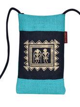 Load image into Gallery viewer, MOBILE JUTE WARLI PRINT (A-088-TURQUOISE BLUE)