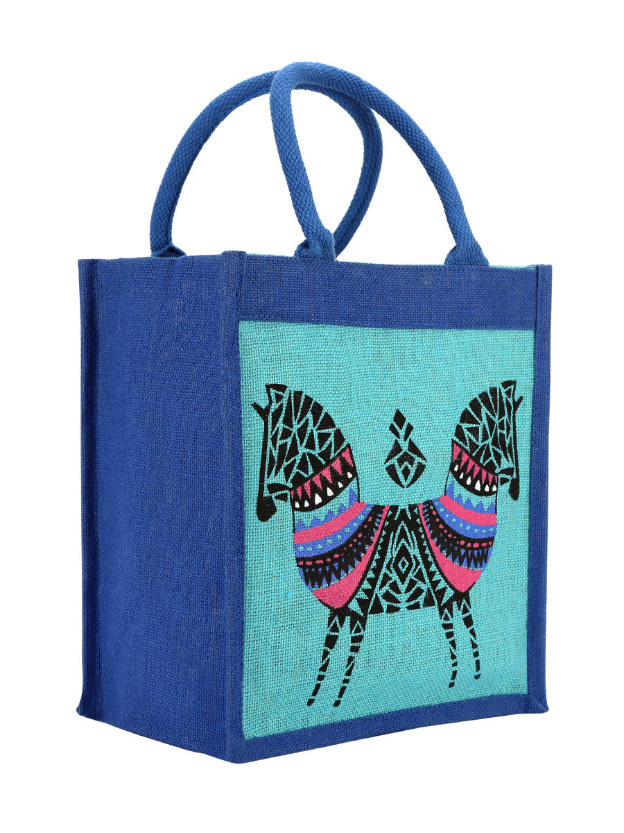 12 X 12 DOUBLE ZEBRA PRINT BAG (B-072-BRIGHT BLUE)