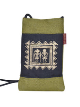 Load image into Gallery viewer, MOBILE JUTE WARLI PRINT (A-088-OLIVE GREEN)