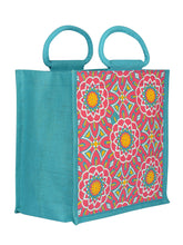 Load image into Gallery viewer, 12X12 ZIPPER MUGHAL PRINT (B-188-TURQUOISE BLUE)