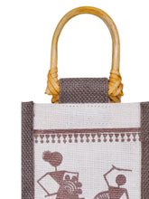 Load image into Gallery viewer, BOTTLE BAG WARLI PRINT 2 (B-163-WHITE/BROWN)