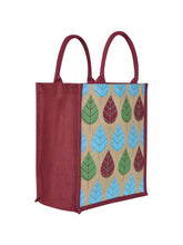 Load image into Gallery viewer, 13X11 FRONT POCKET LEAF PRINT (B-166-MAROON/NATURAL)