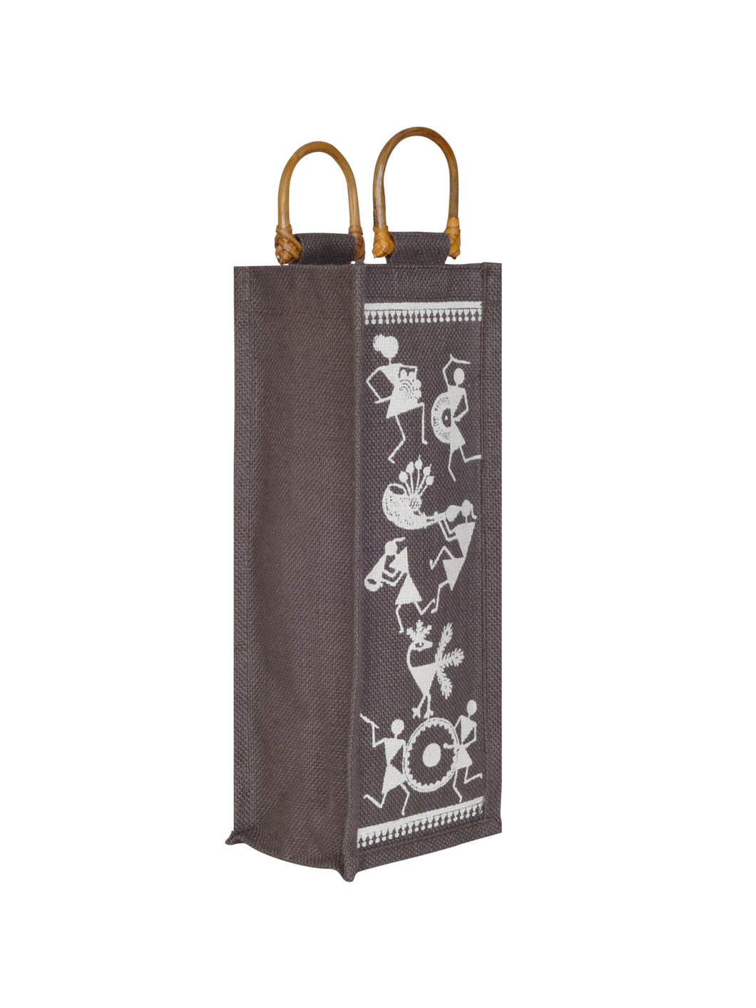BOTTLE BAG WARLI PRINT 2 (B-163-BROWN)