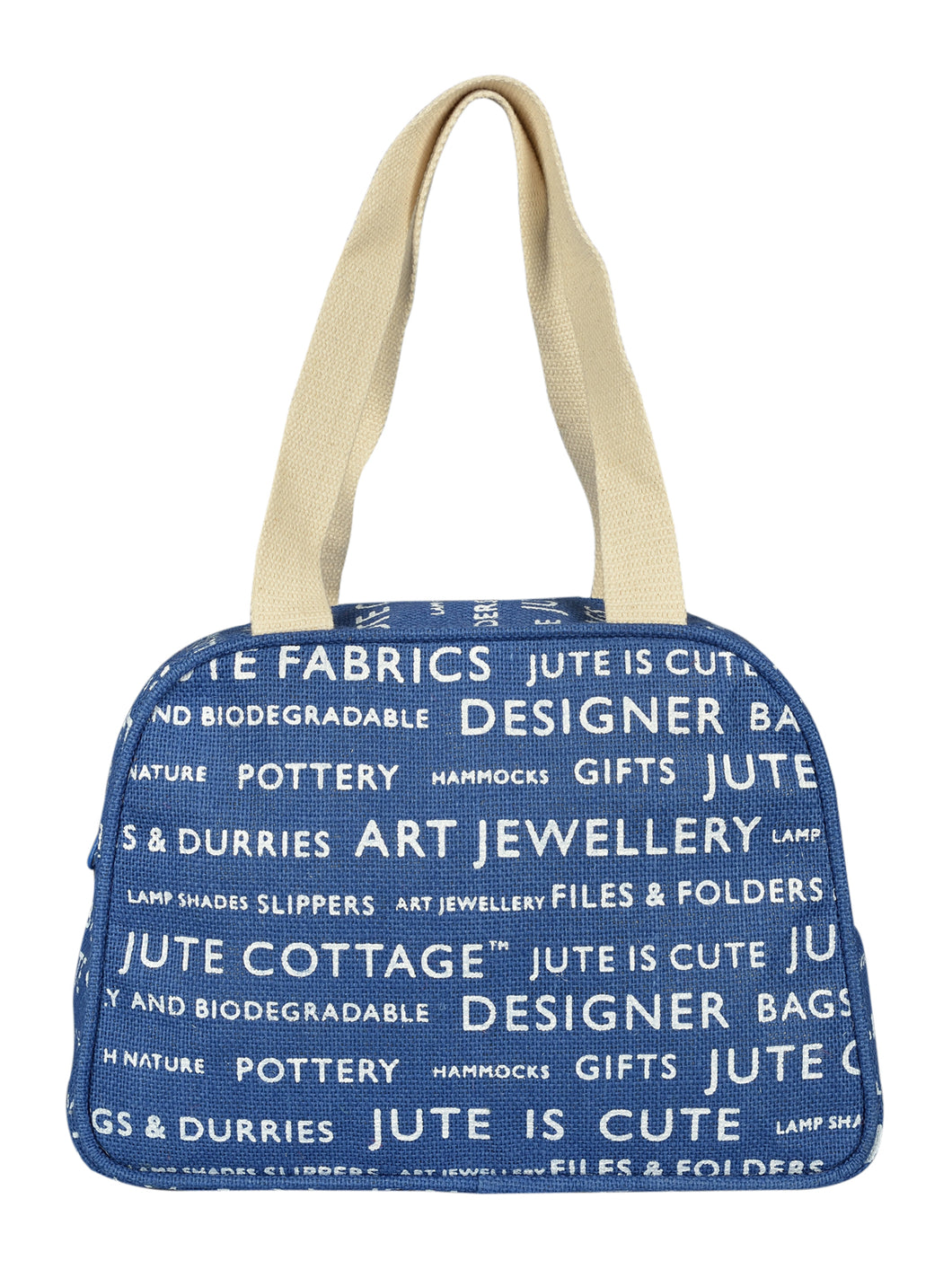 TAPE HANDLE LUNCH (JUTE COTTAGE PRINTED) - (B-035-BLUE)