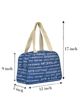 Load image into Gallery viewer, TAPE HANDLE LUNCH (JUTE COTTAGE PRINTED) - (B-035-BLUE)