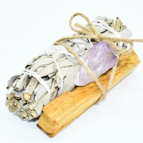 sage wrapped with crystals