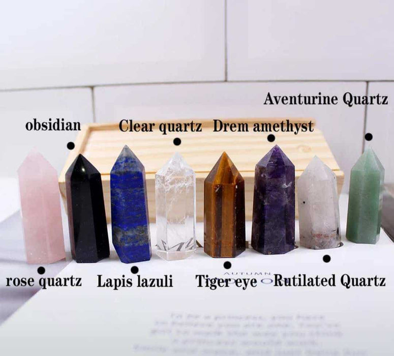 Wooden box Natural Hand Carved crystal points quartz wand pillar