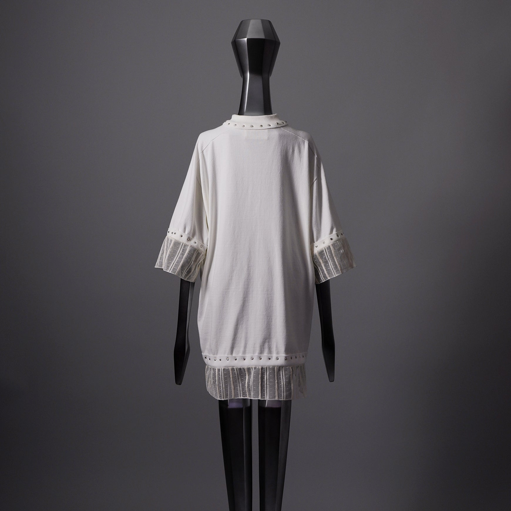 TYPE-1 Knit Organic Cotton Half Sleeves with French Lace Sleeve Parts Short (White Stripes)