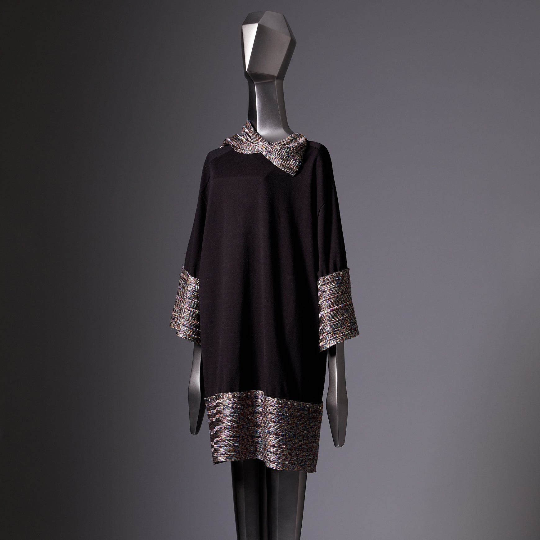 TYPE-1 ATLAS Knit Upcycle Silk Half Sleeves Long (Multi/Black)