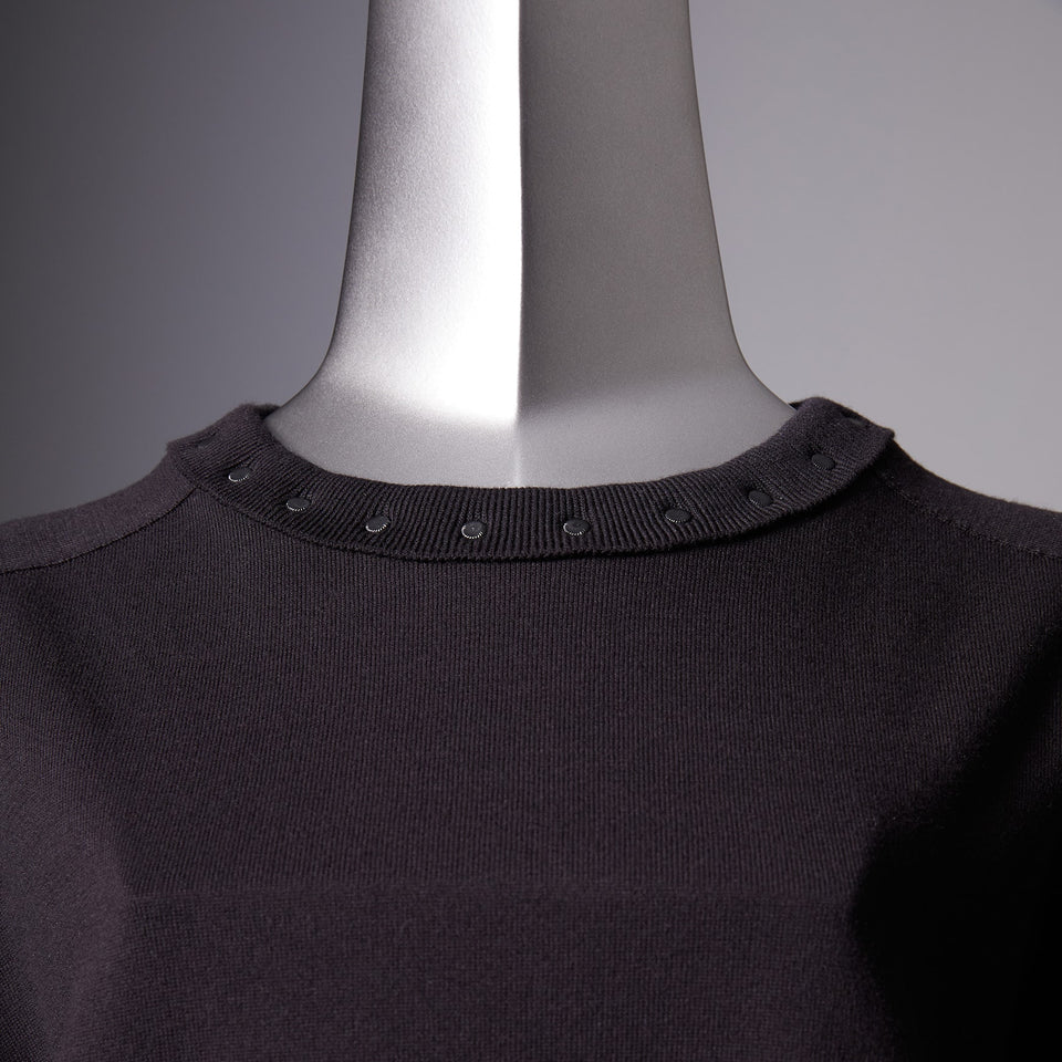 TYPE-1 Knit Organic Cotton Crew Neck Collar Part (Black)