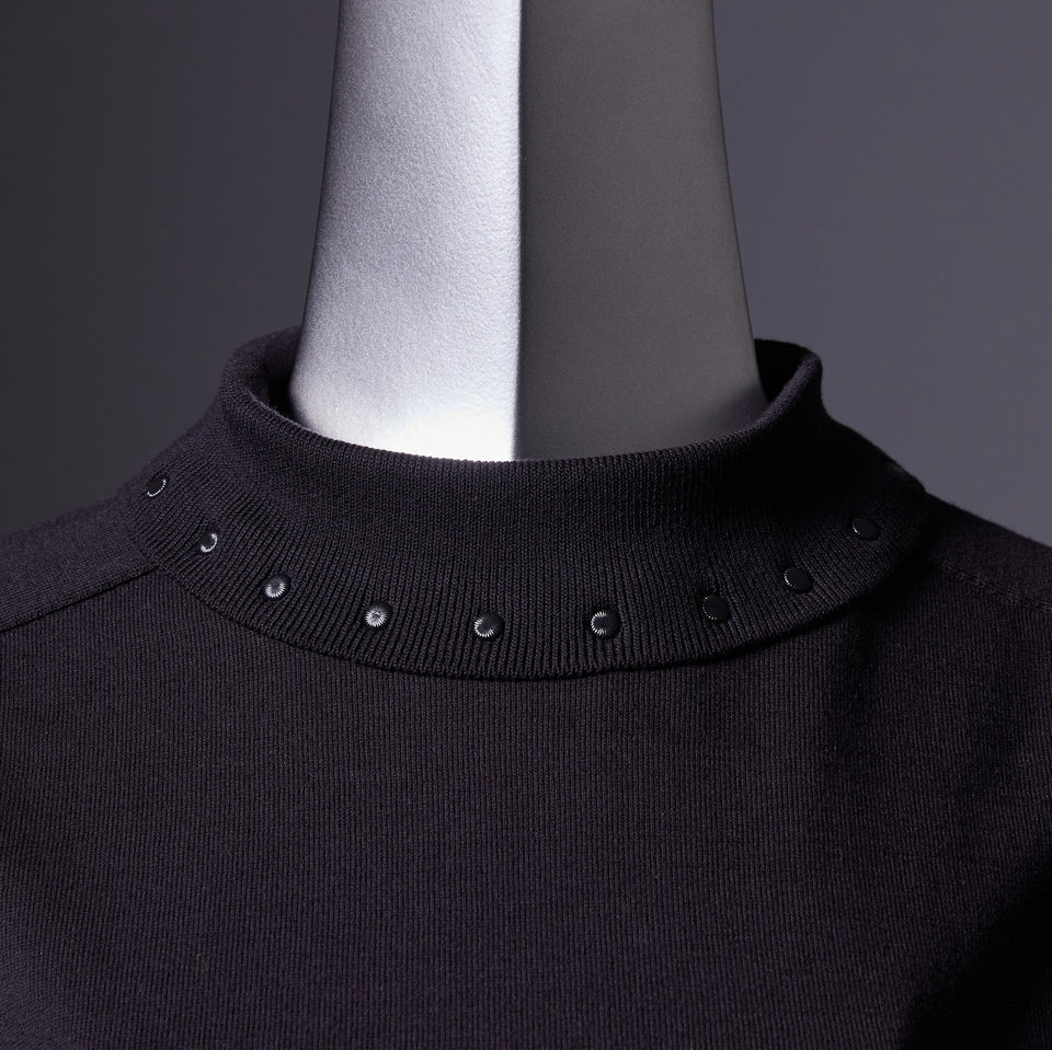 TYPE-1 Knit Organic Cotton High Neck Collar Part (Black)