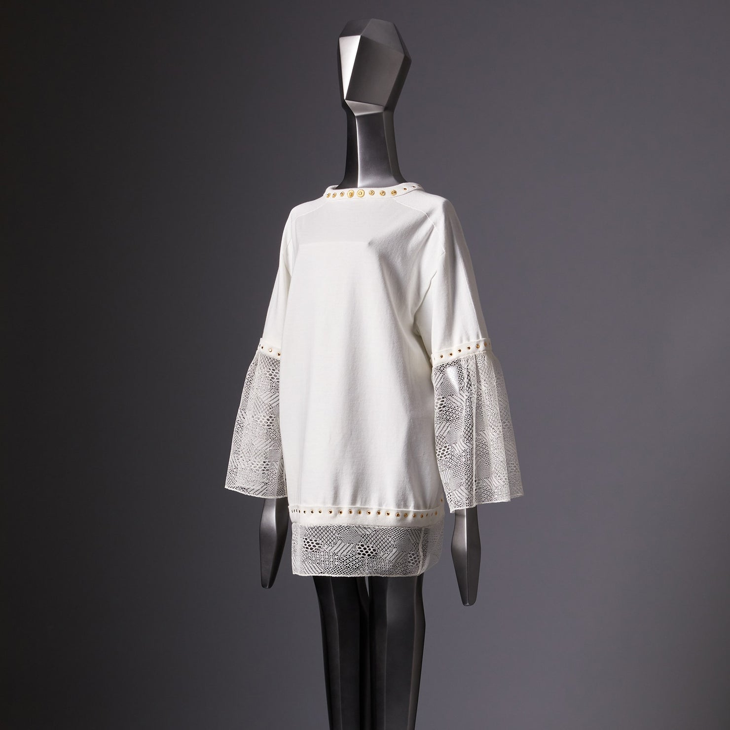 TYPE-1 Knit Organic Cotton Half Sleeves with French Lace Sleeve Parts Long and Gold Washer(White Cells)